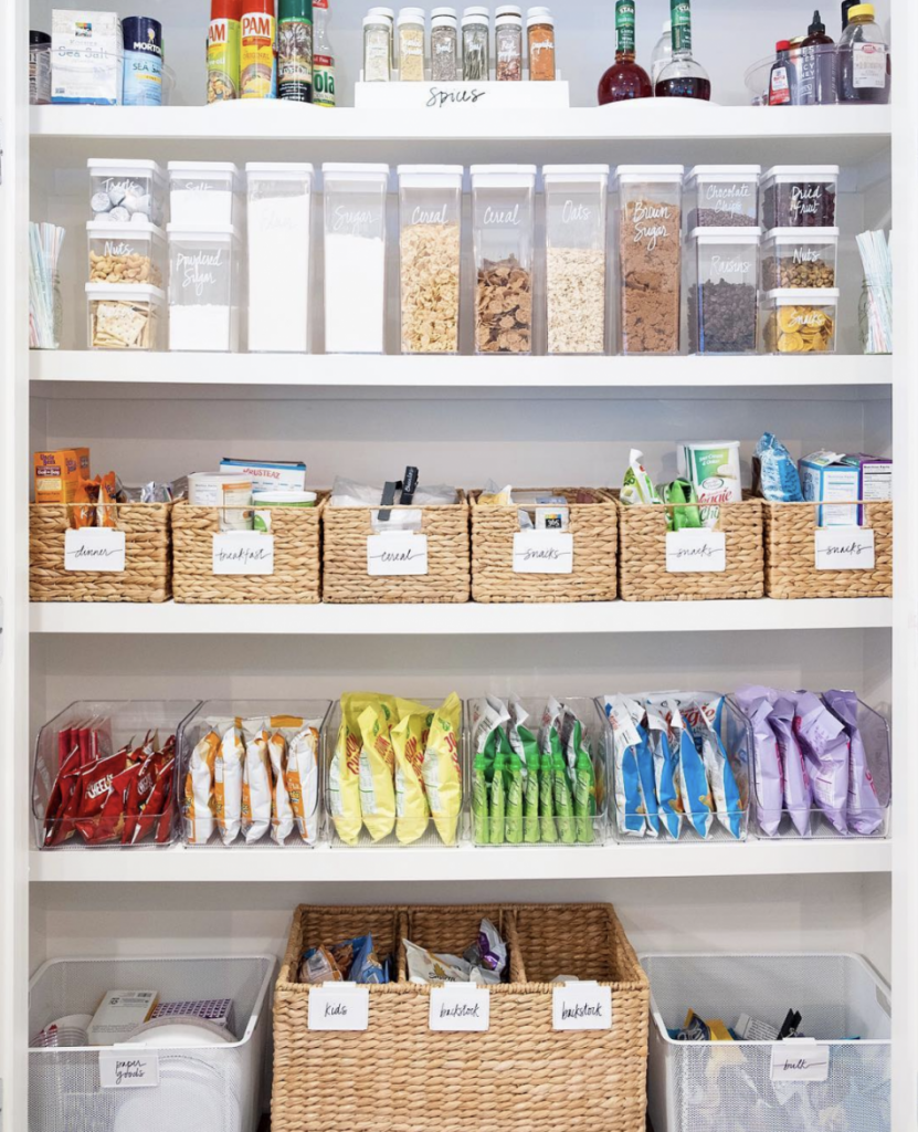 baskets and canisters in a pantry