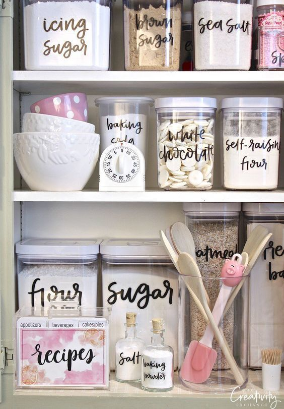 baking items in labelled jars